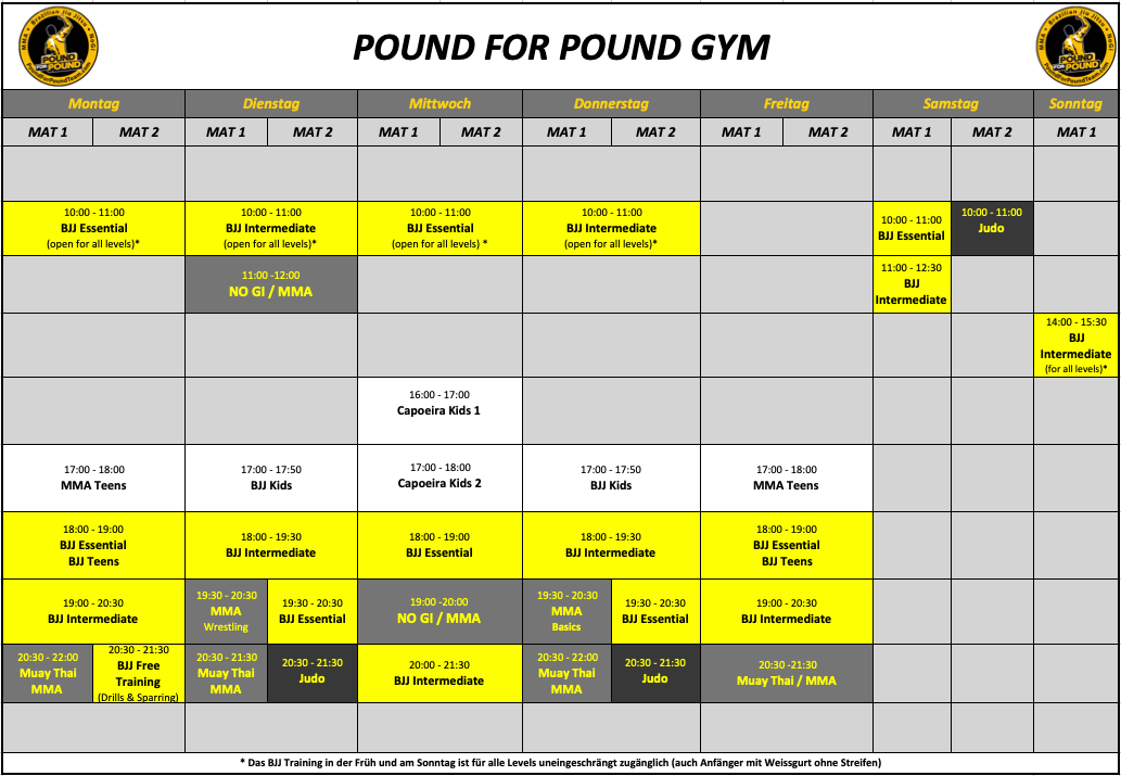 Pound for Pound Training Schedule